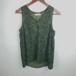 Braeve Green Tropical Leaf Print V-Neck Tank Sm